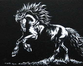 Horse ACEO Giclee Print - FRIESIAN - Draft Stallion War Animal Pet Dressage English SFA Safyre Studios