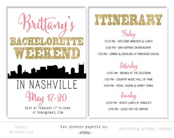 Nashville Bachelorette Party Invitation and Itinerary - NASHVILLE Bachelorette Party - Nashville Skyline Invitation