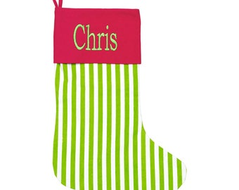 Personalized Christmas Stocking Green Stripe