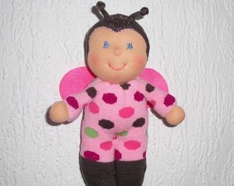 Waldorf doll baby bug, Love bug, Soft baby bug doll, Handmade bug plushie for little girls, OOAK Gift for bug lover