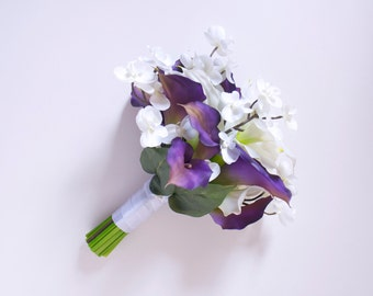 Purple Calla Lily and White Orchid Bouquet with White Calla Lilies (Real Touch Wedding Flowers)