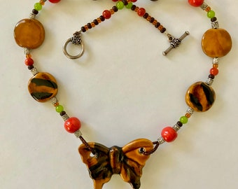 Brown Ceramic Butterfly Necklace