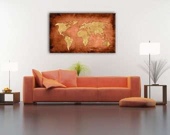 Bronze map etsy bronze color world map gift ideas boys room home decor vintage bronze color gumiabroncs Gallery