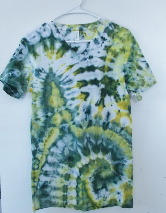 Ice-Dyed Tie Dyed  V Neck Tshirt, Small Packer colors