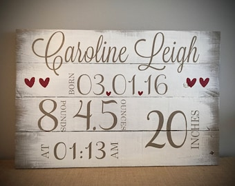 Rustic Reclaimed Wood Sign - Baby Birth Date & Measurements Custom Sign 20x14