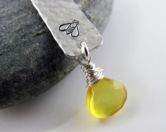 Sweet Honey Necklace - Sterling Silver Tag, Bumble Bee, Lemon Yellow Chalcedony