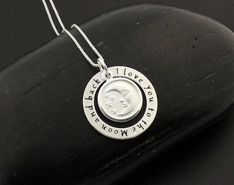 Sterling silver i love you to the moon and back necklace comes with box chain Crescent Moon Necklace moon jewelry moon necklace (C20-N13)