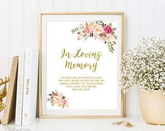 In Loving Memory Sign, Memorial Table Sign, Gold Floral Wedding Sign Printable, Floral Wedding Sign, Instant Download, #A010