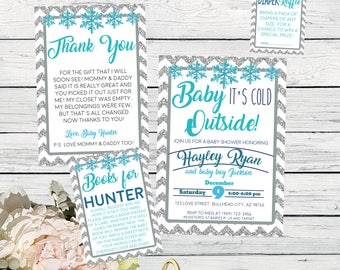Baby It's Cold Outside Winter Baby Shower Invite-Silver Glitter***Digital File***  (Baby-ColdWinter)