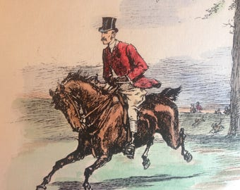 Riding  in New York Fox Hunting Hand colored  Print