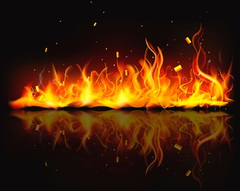 Fireplace Flames Wall Decal, Fire Ring Wall Decal, Flamed Fireplace Wall Art, Fireplace Artwork, Fire Flame Wall Poster, Fire Scene Artwork