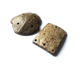Coconut Rustic Connector, 4 Hole, Brown, Set of 2