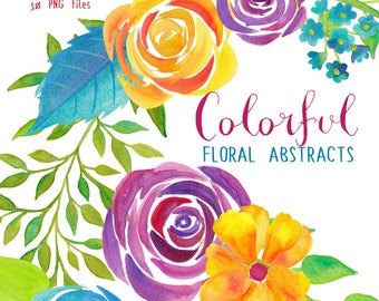 watercolor flower clipart, roses watercolor blue red yellow, florals clip art, flowers for invites handpainted, watercolor wedding graphics