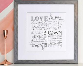 Personalised Wedding Typographic Art Print