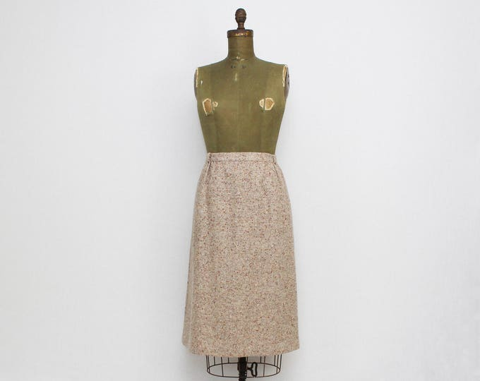 Vintage 1970s Tan Wool Tweed Skirt - 31 Inch Waist