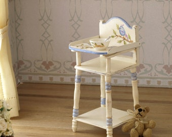 Infant wood highchair, handmade and handpainted 1:12 scale miniature dollhouse. Artisan
