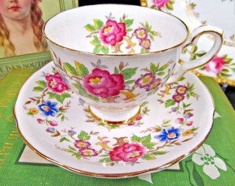 Royal Stafford Tea Cup and Saucer Rochester Floral Teacup Set
