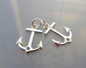 925 Sterling Silver Anchor Charm Pendant, Sideway Anchor Link, High Quality Findings, High Polished, 15x11mm - PC-0066
