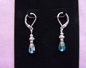 Pewter and Picasso crystal earrings on sterling leverback hooks
