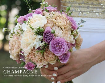 Champagne Wedding Flowers, Carnation Bouquet, Lavender Flowers
