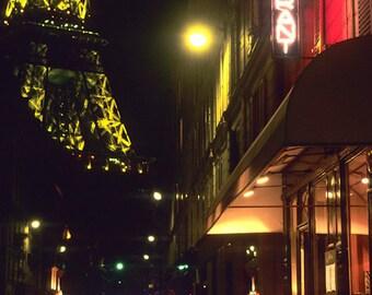 Eiffel Tower Photo Paris Cafe Print Bistro Photograph Restaurant France Photography Night  par13