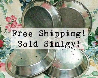 Pie Pan Perforated Stainless Steel Vintage FREE SHIPPING!