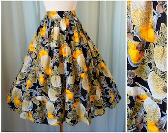 vintage 1990s cantaloupe print skirt   medium   vint 90s circle skirt   pinup skirt   summer skirt   swing skirt   rockabilly skirt   floral