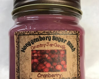 Jar Candles, cranberry, mason jar, 1/2 pint, Christmas scent, teacher gift, container candle, Moeggenborg Sugar Bush