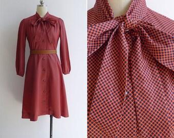 Vintage 70's 'Lichtenstein Dots' Orange & Black Pussy Bow Dress XS or S