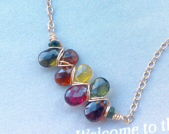 Watermelon Tourmaline necklace, Watermelon Tourmaline Pendant, October birthstone, sterling silver, gold filled, Gift for Wife, Anniversary