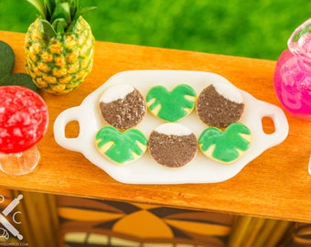 Miniature Coconuts and Tropical Leaves Cookies - Half Dozen - 1:12 Dollhouse Miniature