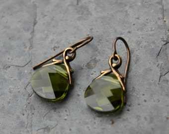 Olivine green briolette antique brass earrings - olive green Swarovski crystals - free shipping USA - moss  & brown - fall autumn colors