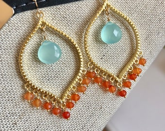 Chalcedony and Carnelian Earrings, Boho Gold Earrings, gift for her, gift under 100, coral and aqua chandelier earrings, colorful earrings