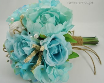 Beach Wedding Bouquet with Seashells, Aqua Blue Peonies Roses