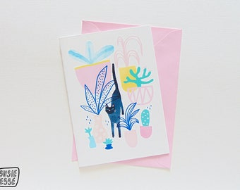A6 Cat Plant Wonderland Greeting Card