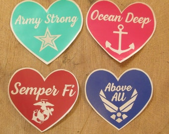 Military love decal: army strong decal, above all decal, semper fi decal, ocean deep decal, army decal, usaf decal, usmc decal, navy decal
