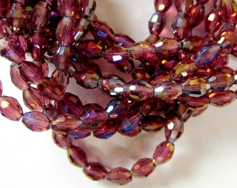 24 Crystal beads purple facetedAB coated glass beadwork jewelry 6mm x 4mm supplies MMC03Y