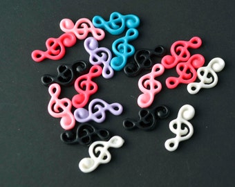 18 PC Resin Colorful Music Clef Cabochon Flat backs HairBows Parties DIY Projects az355