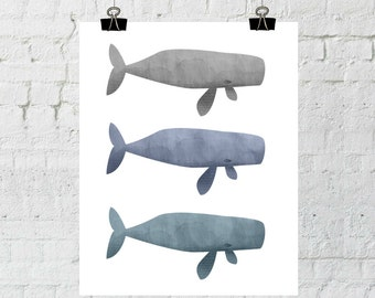 whale nursery art print, watercolor print, nursery wall art, instant digital download, printable, The Copper Anchor- ADOPTION FUNDRAISER