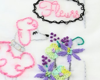 Poodle Embroidery Pattern Le Caniche Embroidery Design Paris Poodle Dog Embroidery Pattern Standard Poodle Poodle Art