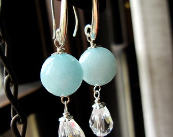 Light Blue Amazonite Earrings with Glass Teardrop and Sterling Silver