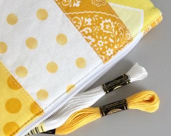 Cute Bag Yellow Scrappy Polka Dot Cosmetic Bag Makeup Bag Yellow Floral Patchwork Zipper Pouch Organizer