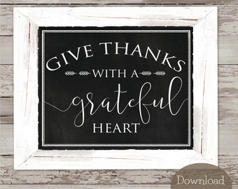 Grateful Heart Chalkboard Art