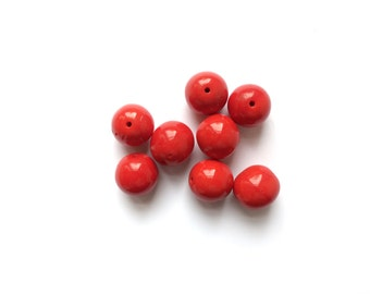 7 Red Glass Beads, Ball Beads, French Antique Beads