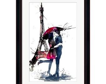 Parisian Love Watercolor Print from Original Watercolor Illustration - Travel Paris Red Umbrella Watercolor Painting