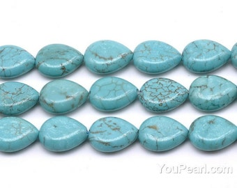 Turquoise beads, 13x18mm teardrop, turquoise stone beads, howlite teardrop shape beads, one full strand, gemstone beads jewelry, TQS3120