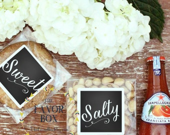 12 (6 EACH) Wedding Welcome Bag - Snack Bag Labels // Wedding Welcome Box - Snack Bag Labels // Sweet and Salty Labels - ANY COLORS