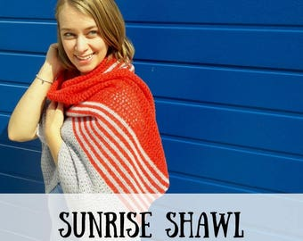Haakpatroon sjaal, haakpatroon omslagdoek, haakpatroon sunrise shawl, haakpatroon PDF