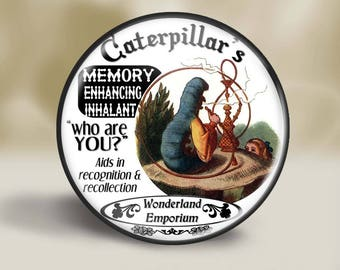 Alice in Wonderland Absolem Magnet, 2.25 Inch, Pocket Mirror, Pin or Christmas Ornament, Alice in Wonderland magnet, Wonderland Gift