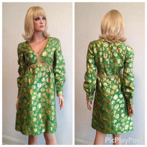 1970-Kleid-grün Metallic-Kleid-Urlaub Kleid grün Partykleid